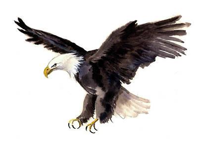 Eaglet Painting - Eagle Watercolor by Tatyana Komtsyan