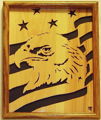 Scroll Saw Sculpture - Eagle With Flag by Russell Ellingsworth