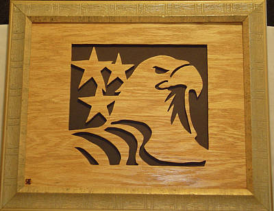 Scroll Saw Sculpture - Eagle With Stars by Russell Ellingsworth