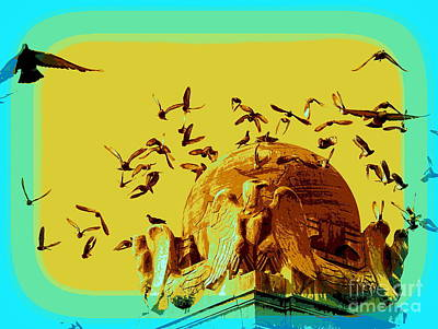 Digital Art - Eagles And Pigeons by Ed Weidman