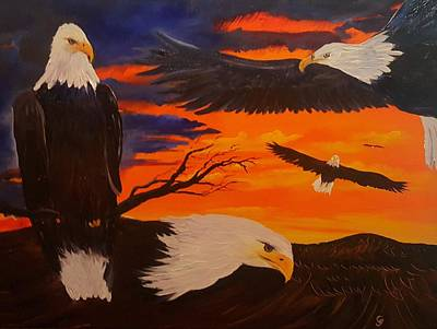 Painting - Eagles Are Back                 76 by Cheryl Nancy Ann Gordon