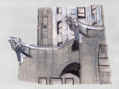 Chrysler Building Drawing - Eagles At Chrysler Building New York City by Gerald Blaikie