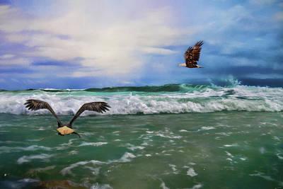 Photograph - Eagles At Sea Wildlife Art by Jai Johnson