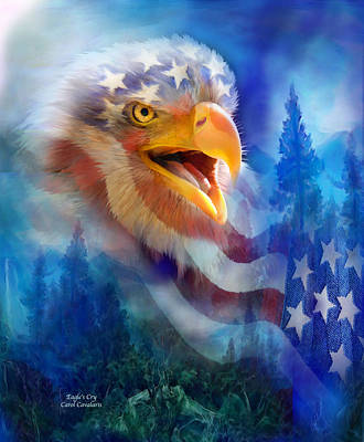 Bald Eagle Mixed Media - Eagle's Cry by Carol Cavalaris