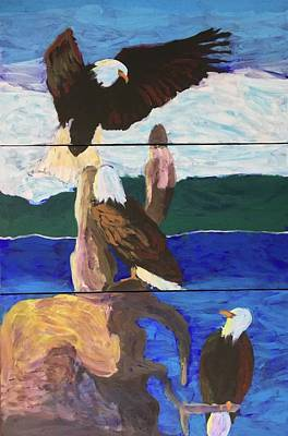 Painting - Eagles by Donald J Ryker III