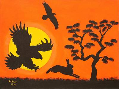 Painting - Eagles Hunting Rabbit by Ralph Root