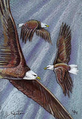 Painting - Eagles In Flight by John Keaton