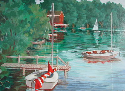 Painting - Eagles Mere Sunfish Boat by Tony Caviston