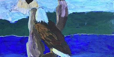 Painting - Eagles Print 2 by Donald J Ryker III