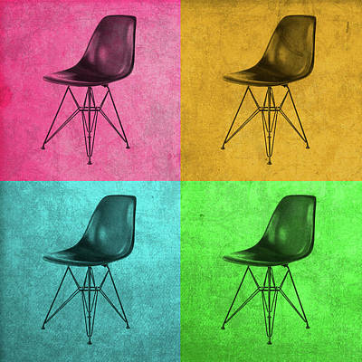 Chairs Mixed Media - Eames Chair Vintage Pop Art by Design Turnpike