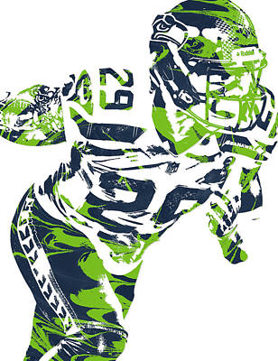 Seattle Mixed Media - Earl Thomas Seattle Seahawks Pixel Art by Joe Hamilton