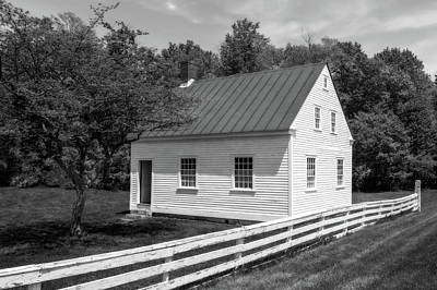 Photograph - Early 1800s New England School House  -  Early1800newengschoolblkwhi184611 by Frank J Benz