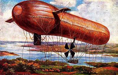 Art Print featuring the painting Early 1900s Military Airship by Peter Gumaer Ogden