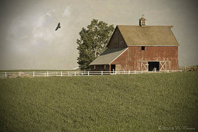 Old Barns Mixed Media - Early Am Barn by Melisa Meyers