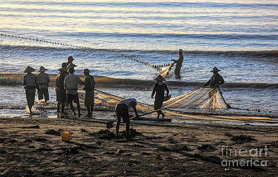 Photograph - Early Am Fishermen Prepare Nets Nam Dinh Thinh Long Beach  by Chuck Kuhn