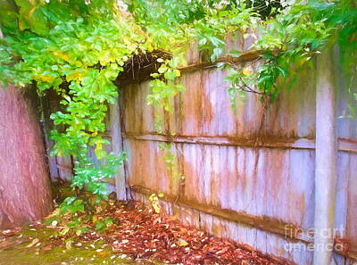 Mixed Media - Early Autumn Fence And Vines by Susan Lafleur