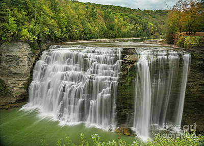 Photograph - Early Autumn Middle Falls Of Letchworth by Karen Jorstad