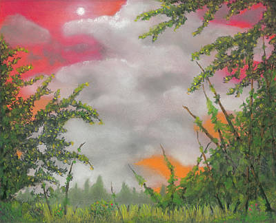 Autumn Landscape Drawing - Early Autumn Moon by Geoff Hinkley