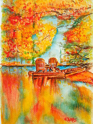 Painting - Early Autumn Reflections by Elaine Duras
