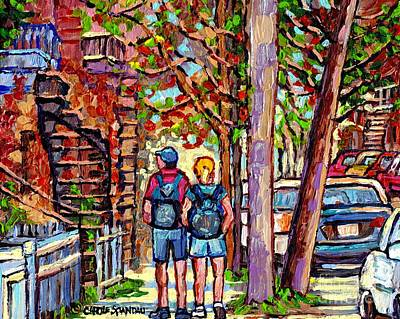Painting - Early Autumn Street Painting Couple Stroll Verdun Montreal Staircase Scene  City Art Carole Spandau by Carole Spandau