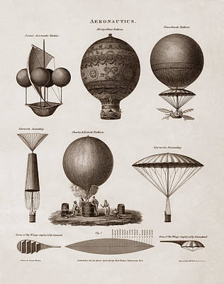 Hot Air Balloon Mixed Media - Early Balloon Designs by War Is Hell Store