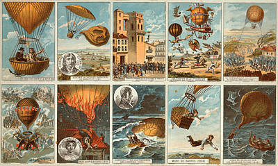 Flightdeck Drawing - Early Balloon Montage by Vintage Pix