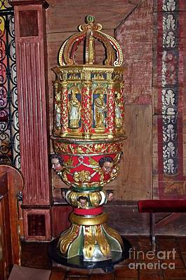 Photograph - Early Baroque Baptismal Font Gasawa Poland by Elzbieta Fazel