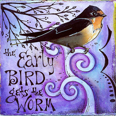 Swallow Mixed Media - Early Bird by Vickie Hallmark