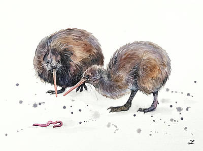 Kiwi Bird Painting - Early Birds by Zaira Dzhaubaeva