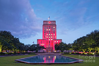 Early Dawn Architectural Photograph Of Houston City Hall And Hermann Square - Downtown Houston Texas Art Print