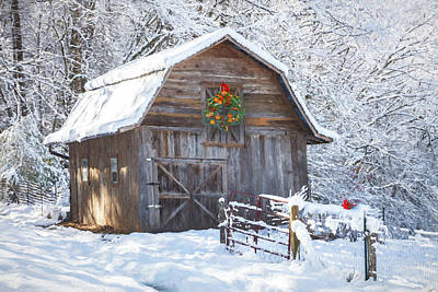 Photograph - Early December Snowfall Oil Painting by Debra and Dave Vanderlaan