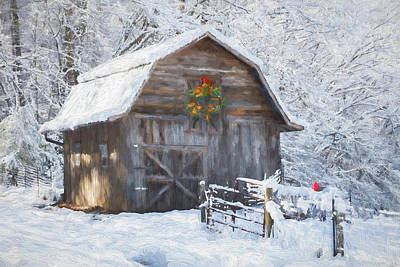 Photograph - Early December Snowfall Painting by Debra and Dave Vanderlaan