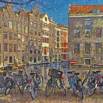 Digital Art - Early Evening Along An Amsterdam Canal by Digital Photographic Arts