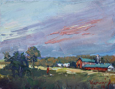 Barn Painting - Early Evening At Phil's Farm by Ylli Haruni