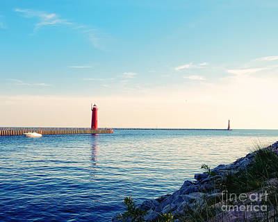 Muskegon Lighthouse Wall Art - Photograph - Early Evening At The Lighthouse by Emily Kay
