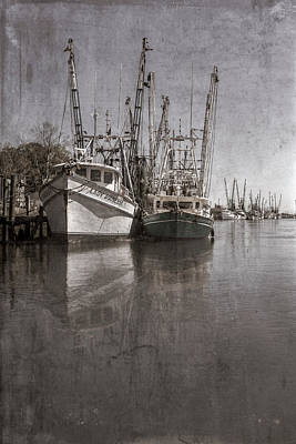 Photograph - Early Evening Harbor In Antique Sepia by Debra and Dave Vanderlaan
