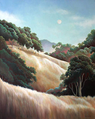 Painting - Early Evening Moon by Charle Hazlehurst