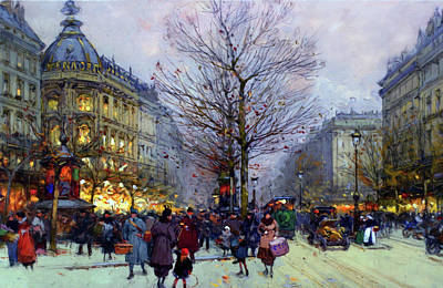 Mixed Media - Early Evening On The Boulevards Paris by Georgiana Romanovna