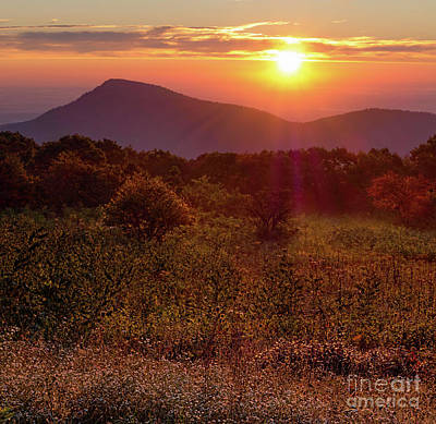 Photograph - Early Fall Sunrise, Shenandoah National Park, Va  -84275-84277 by John Bald