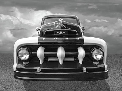 Photograph - Early Fifties Ford V8 F-1 Truck In Black And White by Gill Billington