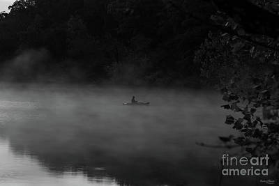 Photograph - Early Foggy Fishing Grayscale by Jennifer White
