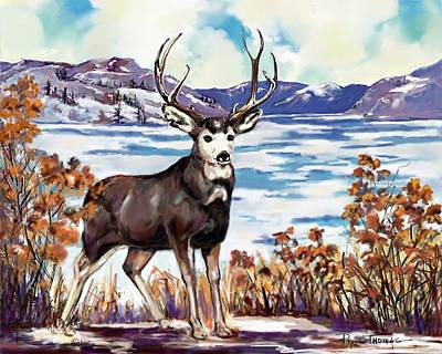 Deer Painting - Early Freeze by Pat Thomas