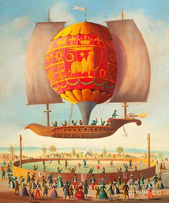 Digital Art - Early French Hot Air Balloon Airship Celebration Circa 1840 by Victor Benoit Philippe