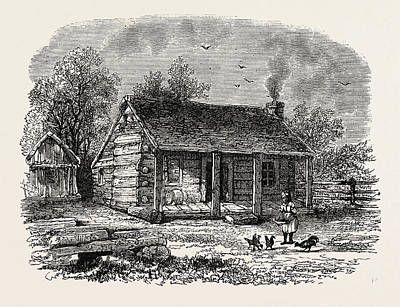 Log Cabin Art Drawing - Early Home Of Abraham Lincoln by American School