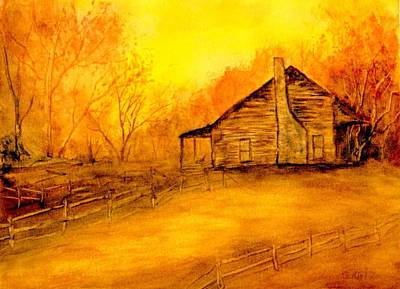 Art Print featuring the painting Early Kentucky Times by Gail Kirtz