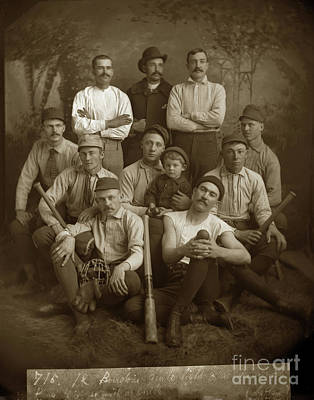 Photograph - Early Monterey Baseball Team Circa 1895 by California Views Mr Pat Hathaway Archives