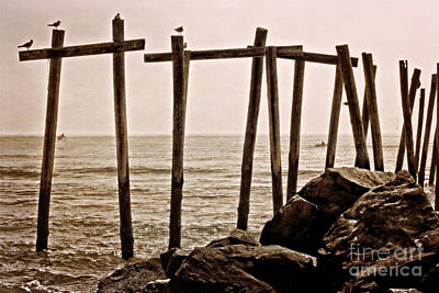Pier Photograph - Early Morning 59th St Beach by Tom Gari Gallery-Three-Photography
