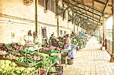 Digital Art - Early Morning At The Market by Mary Machare