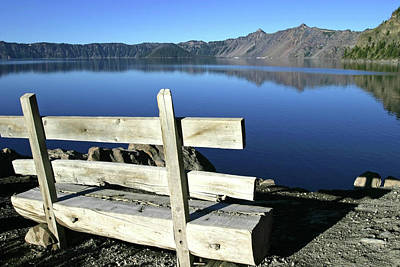 Photograph - Early Morning Bench At Crater Lake National Park, Oregon by Robert Mutch