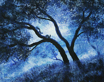 Squirrel Wall Art - Painting - Early Morning Blues At Rancho San Antonio by Laura Iverson